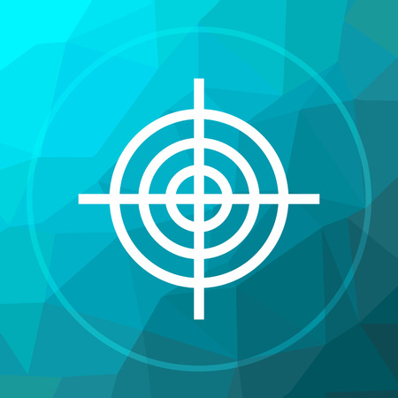Target icon. Target website button on blue low poly background.