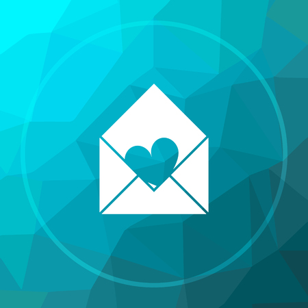 blue send: Send love icon. Send love website button on blue low poly background. Stock Photo