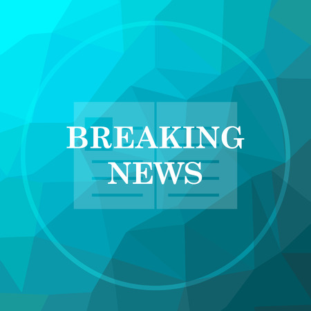newsflash: Breaking news icon. Breaking news website button on blue low poly background. Stock Photo