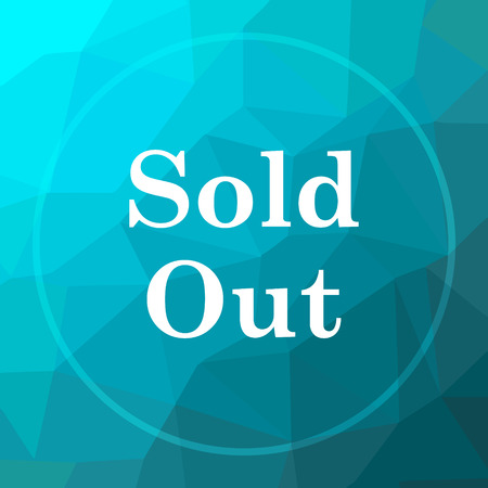 Sold out icon. Sold out website button on blue low poly background.