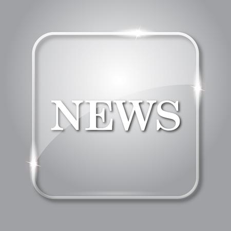 ニュースのアイコン。灰色の背景上の透明なインターネット ボタン。 写真素材
