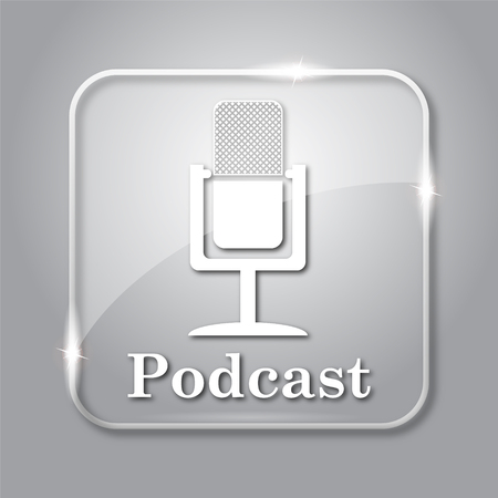grey: Podcast icon. Transparent internet button on grey background.