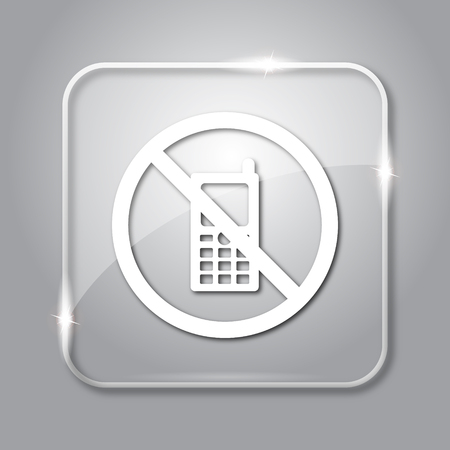 use regulation: Mobile phone restricted icon. Transparent internet button on grey background.