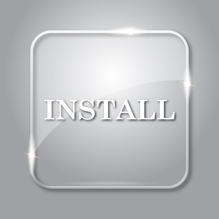 operative system: Install icon. Transparent internet button on grey background. Stock Photo