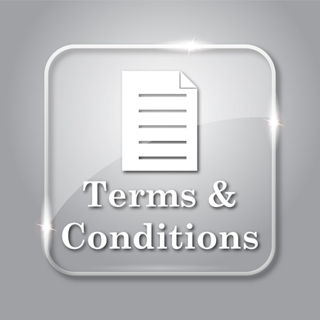 terms: Terms and conditions icon. Transparent internet button on grey background. Stock Photo