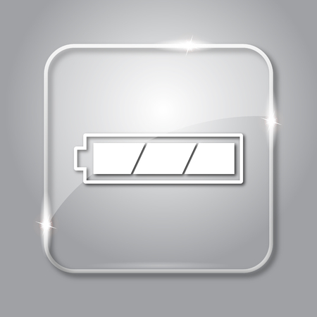 Fully charged battery icon. Transparent internet button on grey background.