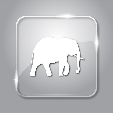 endanger: Elephant icon. Transparent internet button on grey background.
