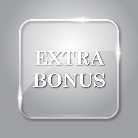 extra cash: Extra bonus icon. Transparent internet button on grey background.
