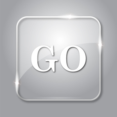 proceed: GO icon. Transparent internet button on grey background. Stock Photo