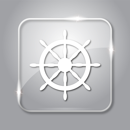 dockyard: Nautical wheel icon. Transparent internet button on grey background.