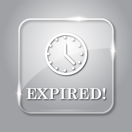 expired: Expired icon. Transparent internet button on grey background.