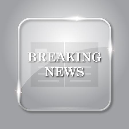 newsflash: Breaking news icon. Transparent internet button on grey background. Stock Photo