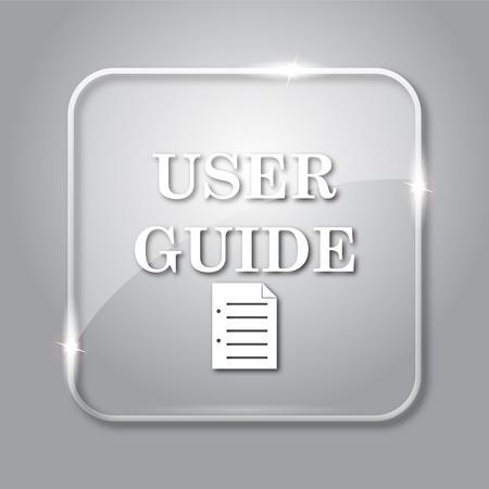 Gebruikersgids pictogram. Transparante internet knop op grijze achtergrond. Stockfoto
