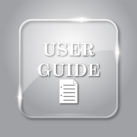 User guide icon. Transparent internet button on grey background. Фото со стока - 69834973