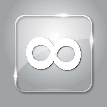 infinity sign: Infinity sign icon. Transparent internet button on grey background.