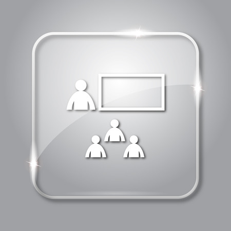 stage coach: Presenting icon. Transparent internet button on grey background.