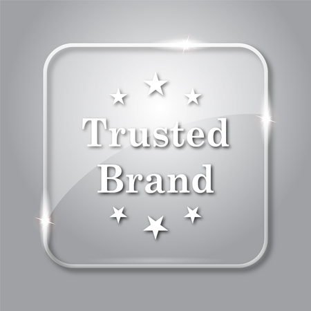Trusted brand icon. Transparent internet button on grey background.