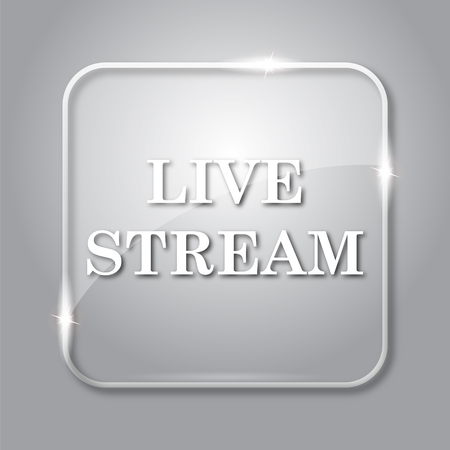 Live stream icon. Transparent internet button on grey background. Stock Photo