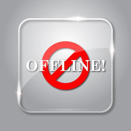 Offline icon. Transparent internet button on grey background.
