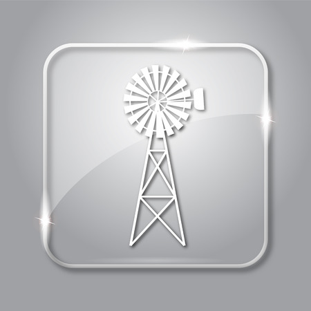 alternate: Classic windmill icon. Transparent internet button on grey background. Stock Photo