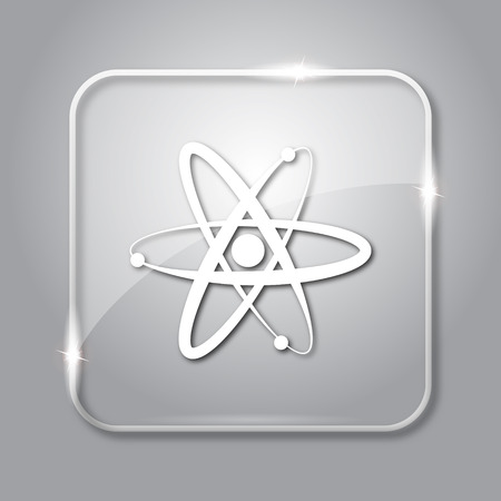 gamma radiation: Atoms icon. Transparent internet button on grey background. Stock Photo