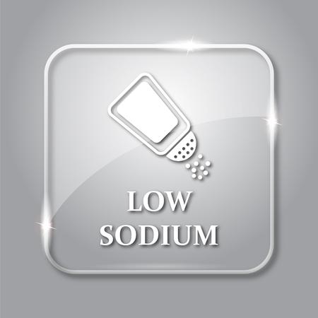 salt free: Low sodium icon. Transparent internet button on grey background. Stock Photo