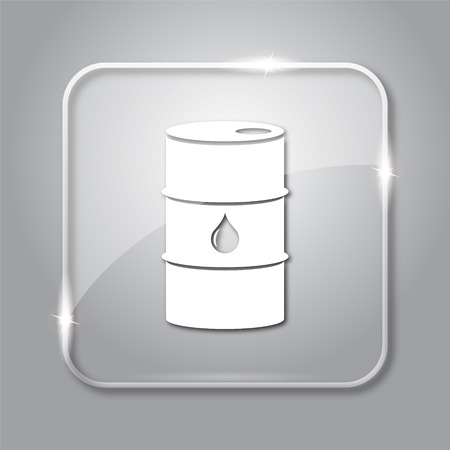 barrell: Oil barrel icon. Transparent internet button on grey background.