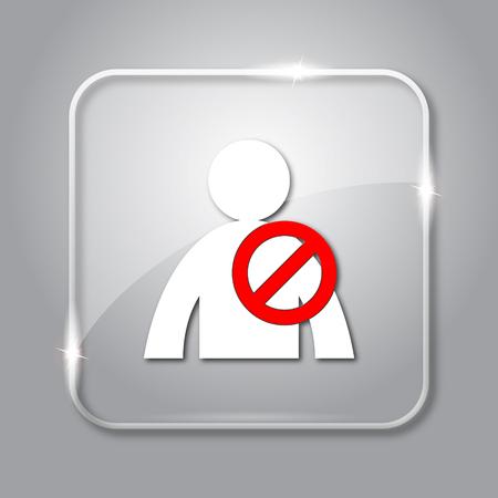 User offline icon. Transparent internet button on grey background.