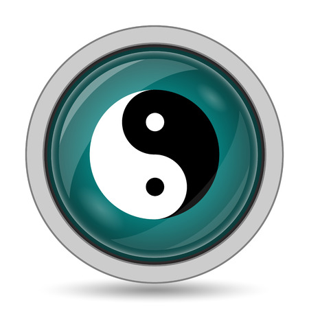 Ying yang icon, website button on white background. Stock Photo