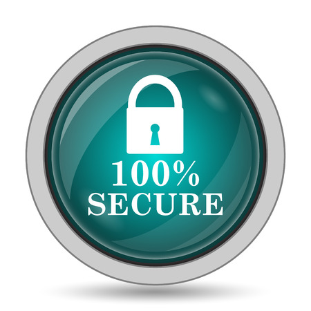 trustworthy: 100 percent secure icon, website button on white background.