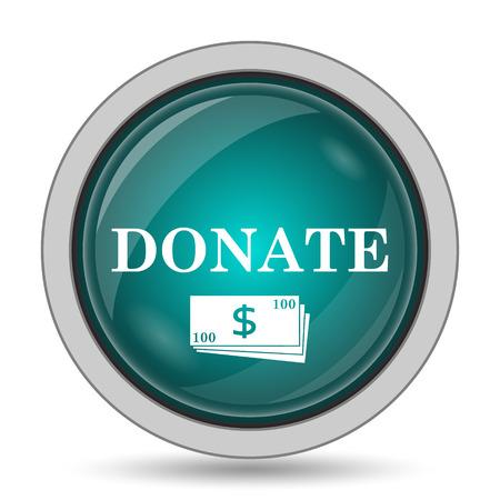 aiding: Donate icon, website button on white background. Stock Photo
