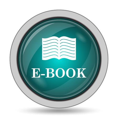 E-book icon, website button on white background.