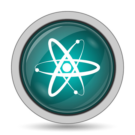 gamma radiation: Atoms icon, website button on white background. Stock Photo