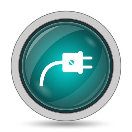 socket adapters: Plug icon, website button on white background. Stock Photo