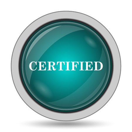 accredited: Certified icon, website button on white background. Stock Photo