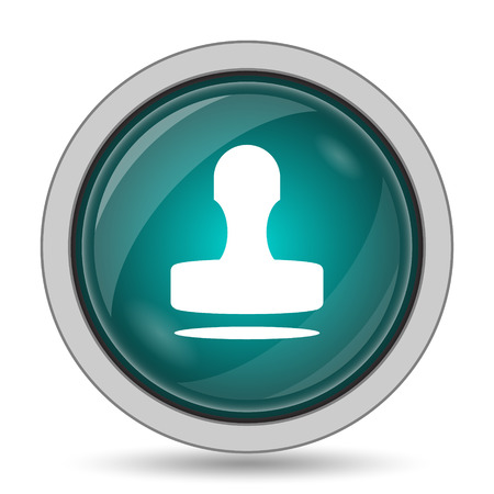 qualify: Stamp icon, website button on white background. Stock Photo