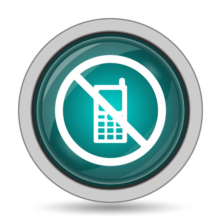 use regulation: Mobile phone restricted icon, website button on white background.