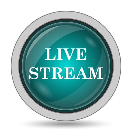 Live stream icon, website button on white background.