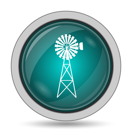 Classic windmill icon, website button on white background.