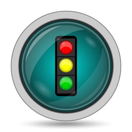 regulate: Traffic light icon, website button on white background.