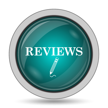 Reviews icon, website button on white background.