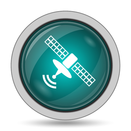 space television: Antenna icon, website button on white background.