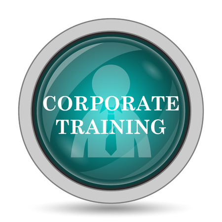 course development: Corporate training icon, website button on white background.