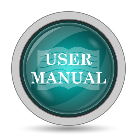 User manual icon, website button on white background. Stock Photo