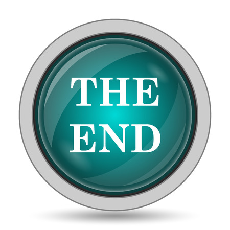 way out: The End icon, website button on white background. Stock Photo