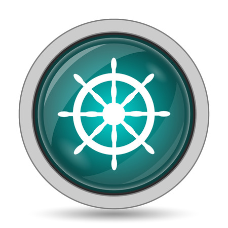 pier: Nautical wheel icon, website button on white background. Stock Photo
