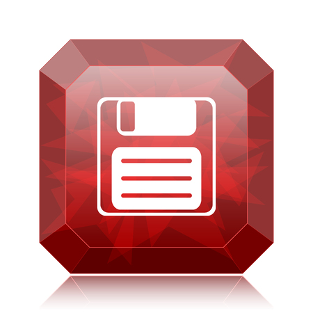 Save icon, red website button on white background.