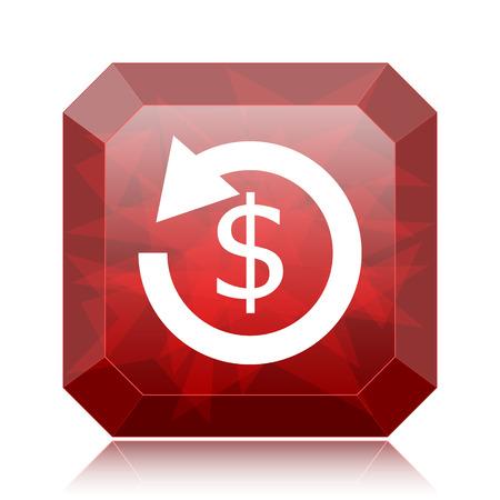 Refund icon, red website button on white background..