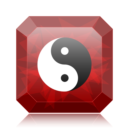 Ying yang icon, red website button on white background. Stock Photo