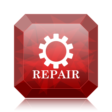 Repair icon, red website button on white background.